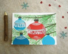 Merry Christmas Card - Paper Cut Ornaments. $8.00, via Etsy.