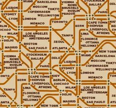 Mind The Gap  (LW1455/1) - Linwood Wallpapers - A vibrant, all over wallpaper design featuring a contemporary tube style map design with city names. Shown here in orange, black and cream with green highlights. Please request a sample for a true colour match. Pattern repeat is 97cm. Paste-the-wall product.