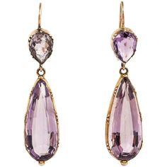 Regency Amethyst Gold Drop Earrings. Fine Regency Amethyst drop earrings set in 15kt Gold.
