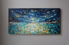 Pintura abstracta azul pintura sobre tela pintura por artbyoak1