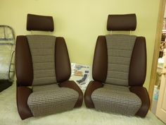 our 'Sport S' seats in burgundy leather w OEM houndstooth. Remake of the Recaro Ideal.Classic Car Seats by GTS classics.