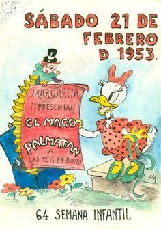 """Cartell il·lustrat per la bibliotecària Natália Hernandez per presentar l'activitat de l'Hora del Conte a la biblioteca Pare Miquel d'Esplugues del dia 21 de febrer de 1953. El títol de l'activitat és: """"El mago Palmatán""""."""