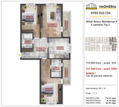 Apartamente de vanzare Mihai Bravu Residence 9 -3 camere tip C Floor Plans, Floor Plan Drawing, House Floor Plans