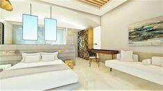 diakosmisi xenodoxeiou  Αρχιτεκτονικός Σχεδιασμός Oversized Mirror, Divider, Villa, Modern, Room, Furniture, Dresses, Home Decor, Bedroom