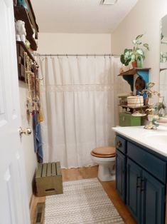 Blue Green Boho Bathroom