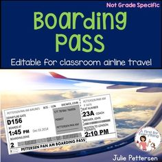 """Now Boarding!  Use this completely editable boarding pass for your students as they """"board"""" your classroom airline to take a virtual trip around the world to learn and explore how various countries celebrate the holidays!  This resource includes the editable boarding pass only."""