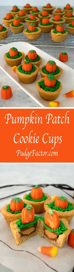 How cute is this? With only four ingredients, these Pumpkin Patch Cookie Cups are super easy to make, and taste delicious!