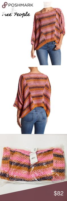 """Free People Sz S Pink Pearl Boho Sweater NWT This softly draped sweater is knit with a mix of open stitches and shaped with artfully placed seams, creating a   romantic and bohemian look.  Brand: Free People Size: S     - Bateau neck     - 3/4 batwing sleeves     - Approx. 19"""" length (size S)     - Imported Fiber Content     55% linen, 45% cotton Care     Hand wash, dry flat Additional Info     Fit: this style fits true to size. Brand new with tags from Nordstrom  (N-1920 11-7) Free People…"""