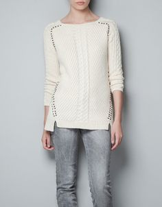 CABLE KNIT SWEATER WITH STUDS - Knitwear - TRF - ZARA United States