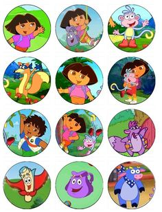 Edible DORA THE EXPLORER Cupcake Toppers 12 edible images for Cupcakes, cookies, brownies or any dessert birthday