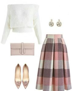 Check Wool-Blend Midi Skirt - Fashion - Source by womensfashionishier attire Look Fashion, Skirt Fashion, Unique Fashion, Hijab Fashion, Winter Fashion, Fashion Outfits, Classy Fashion, Fashion Check, Winter Dress Outfits