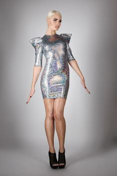 Signature Mini Dress in Silver Hologram, Sexy Holographic Cocktail Party Outfit, Futuristic Fashion, Music Video, by LENA QUIST