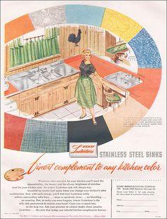 1955 Elkay Stainless Steel Sink Ad by American Vintage Home, via Flickr. Repinned by Secret Design Studio, Melbourne. www.secretdesignstudio.com