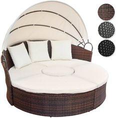 Garden Furniture Bed miadomodo poly-rattan sun lounger indoor outdoor garden sofa day