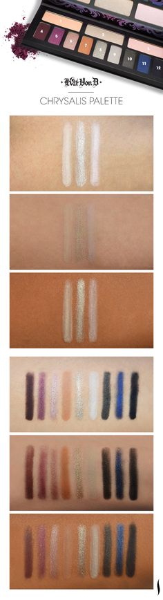 We swatched the new Kat Von D Chrysalis Palette to see how the colors looked on different skintones. What do you think? #Sephora #makeup #swatches