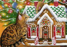 Bengal cat kitten mouse gingerbread house Christmas original aceo painting art #Miniature