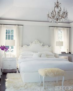 Best White Paint Colors - Best Shades of White Paint For Walls - ELLE DECOR--one of them is Benjamin Moore Linen White, which we used in living room, dining room and hallway on first floor and two bedrooms on second floor. Romantic Bedroom Design, Design Bedroom, Serene Bedroom, Romantic Bedrooms, Glamorous Bedrooms, Home Interior, Interior Design, Bathroom Interior, Interior Ideas