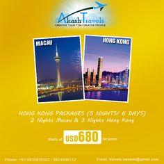 #HongKong Packages (5 Nights/ 6 Days) 2 Nights #Macau & 3 Nights Hong Kong!! Starts at USD 680 per person. Visit http://akashtravels.co.in/hot-packa…/hong-kong-packages.html