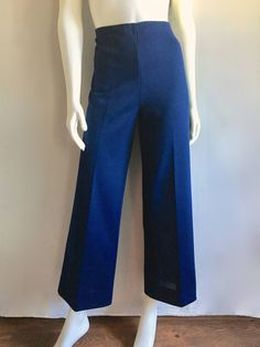 Vintage Women's 70's James Kenrob, Navy Blue, Polyester Pants, High Waisted, Wide Leg (L) by Freshandswanky on Etsy