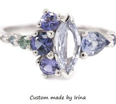Excited to share the latest addition to my #etsy shop: Cluster Ring, OOAK Asymmetric ring, Marquise Sapphire Ring from Luna Collection, Designed by Irina http://etsy.me/2okbFMf #jewelry #ring #blue #yes #women #white #sapphire #marquise #engagement