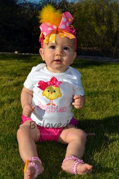 Little Easter Chick Applique Onesie with Matching by belovedbows, $30.50