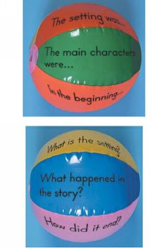 5. Comprehension:  A beach ball is used for this kinesthetic activity.Each segment of the beach ball has a question about the details in the story read. Pinned by MPM School Supplies