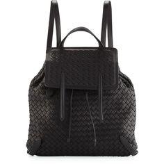 Bottega Veneta Medium Intrecciato Leather Backpack ($350) ❤ liked on Polyvore featuring bags, backpacks, handbags backpacks, tan, leather drawstring backpack, drawstring backpack, leather knapsack, tan backpack and drawstring flap backpack
