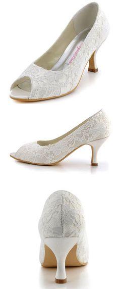 7551812ca79 vory wedding shoes Elegantpark EP11013-25 Women Pumps Peep Toe Mid Heel  Lace Satin Bridal