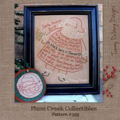 Primitive Santa Pattern Christmas Embroidery by PlumCreekPatterns