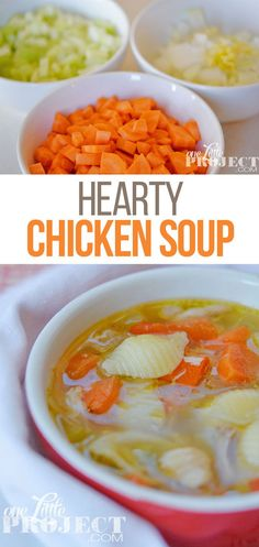 Make this chicken soup recipe the next time you need to add a few more vegetables to your diet.  It's an easy Sunday afternoon soup to put on, and will give you lots of leftovers for lunches for the week ahead.  It can take as little as an hour to make, or longer if you like to keep it simmering.  Mmmmm… one of my favourites! Lunch Recipes, Dinner Recipes, Cooking Recipes, Healthy Recipes, Healthy Foods, Dinner Ideas, Hearty Chicken Soup, Chicken Soup Recipes, Soup Appetizers