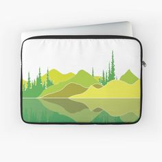 Illustration of a lake scene and a reflection. The artwork makes use of simple lines, a lime colour pallet and geometric pattern. Did you know that lakes are large bodies of water that are surrounded by land and are not part of an ocean?  #laptopaccessories #lakescene #murkywater #foresttrees #mountains #reflections #naturelover #geometricpattern #green #shades of lime #simplistic lines #aesthetic #minimalist #visco #tiktok Green Shades, Build Something, Laptop Accessories, Simple Lines, Laptop Case, Color Pallets, Vignettes, Lakes, Bodies