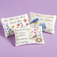 Lavender Sachet Pillows with Inspirational Quotes at Bas Bleu   UJ0612