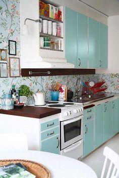 papel de parede para cozinha florido azul claro