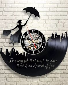 Mary Poppins vinyl record clock More Más Vinyl Record Crafts, Vinyl Record Clock, Vinyl Art, Vinyl Records, Record Wall, Mary Poppins, Disney Crafts, Disney Fun, Disney Rooms