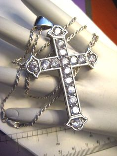 """Large Sterling Silver Cross with Cubic Zirconia Pendant on 24"""" Rope Chain…"""