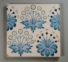William Morris, Daisy tile - one of his early tile designs, produced for many years, this one probably decorated in London in the 1870's.