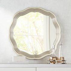 "Dara Silver 32 1/2"" x 32 1/2"" Scalloped Wall Mirror - #1G062 | Lamps Plus"