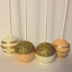 gold cake pops | Gold, pink and white cake pops