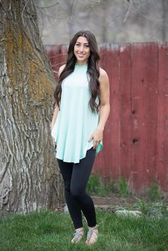 Mint Me Sleeveless Top The perfect mint and color and the perfect flowy fit! Material: 95% Rayon Spandex 5% Color: Mint Sizes: S, M, L, XL Fit: Loose, long and true to size