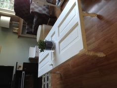 Shabby chic coffee table I made from an old panel door. M. Ireland