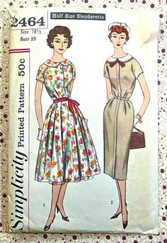 Simplicity 2464  Vintage 1950s Womens Dress Pattern by Fragolina, $6.00