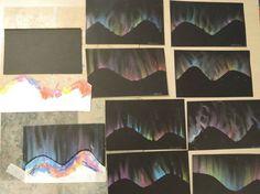 Alaska - Aurore boréale - What is the Aurora Borealis? Club D'art, Art Club, Papier Kind, Classe D'art, 5th Grade Art, Light Crafts, Chalk Pastels, Oil Pastels, Arts Ed