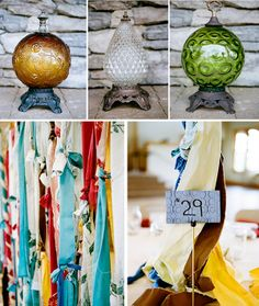 Vintage lamps and homemade table markers. Camp Wedding, Rustic Wedding, Ribbon Curtain, Homemade Tables, Elegant Bridesmaid Dresses, Graduation Decorations, Vintage Lamps, Home Living Room, Wedding Accessories