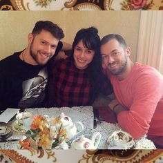 """Tea Time for the trio. A spot of tea at a perfect spot:) @artemchigvintse @henrybyalikov"""