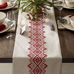 Nordic Embroidered Table Runner | Crate and Barrel