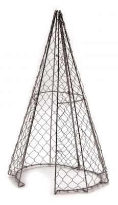 Cone Topiary frame from tomato cage and chicken wire