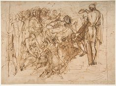 Pellegrino Tibaldi (Pellegrino Pellegrini), 1527-1596, Italian, Saint John the Baptist Baptizing the Multitude, 1554-56.  Pen and brown ink, brush and brown wash: 23.7 x 32.3 cm.  Metropolitan Museum of Art, New York.  Mannerism.