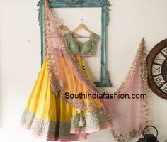 We have the latest picks of Fab Indian Mehndi Outfit Style Ideas.Trending Mehndi lehenga styles and wow offbeat suits for the modern Indian Bride! Indian Bridal Outfits, Indian Designer Outfits, Indian Dresses, Indian Clothes, Designer Dresses, Western Dresses, Pakistani Dresses, Yellow Lehenga, Mehndi Outfit