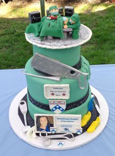 I'd like the cake to be a light blue color to match his scrubs. The silver tools shown here.