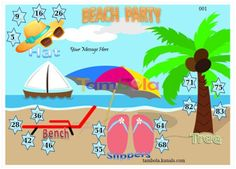 Beach Anywhere 2 Tambola Housie Ticket Kitty Party Games, Kitty Games, Cat Party, Tambola Game, 26 Beach, Beach Party, Beach Themes, Messages, Ticket